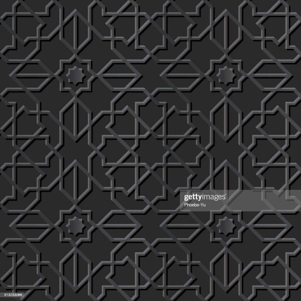 Seamless 3D elegant dark paper art pattern 126 Islam Star