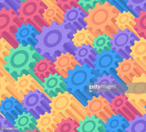 seamless 3d gears background - colors of rainbow in order stock illustrations