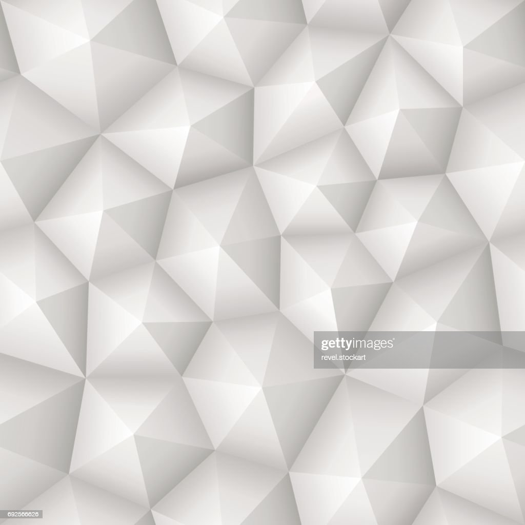 Seamless 3d geometric abstract vector white texture with low polygon pattern