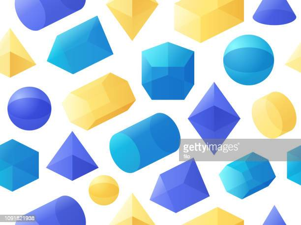 seamless 3d geometric shapes - translucent stock illustrations