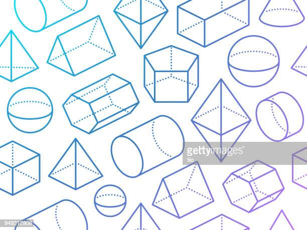 seamless 3d geometric shapes - dotted line stock illustrations