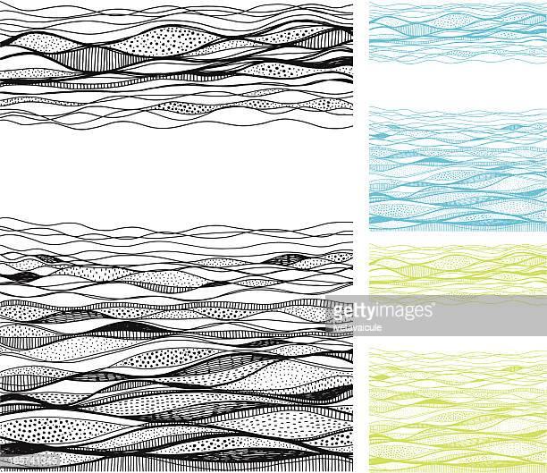 nahtlose abstrakte zeichnung von land und in der luft - horizont stock-grafiken, -clipart, -cartoons und -symbole