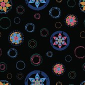 Seamless abstract floral background pattern, with circles, strok