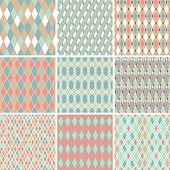 Seamless abstract retro pattern. Set of 9 geometric texture