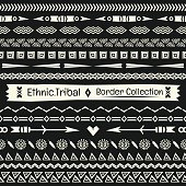 Seamless abstract vector Tribal border collection in monochrome