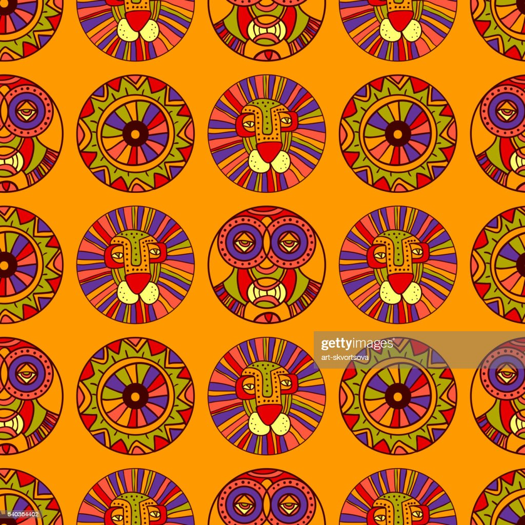 Seamless African pattern with lion, African mask, sun wheel symbol