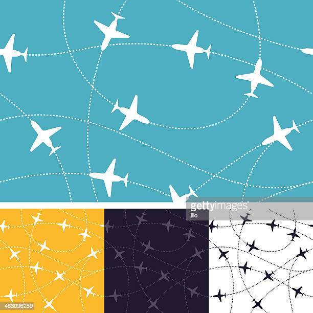 seamless air travel - dotted line stock illustrations