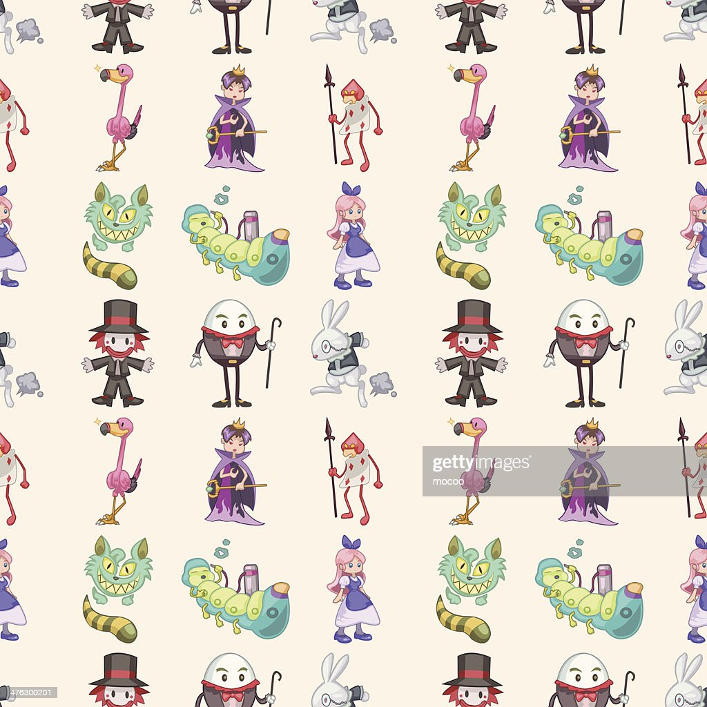 seamless Alice in Wonderland pattern,