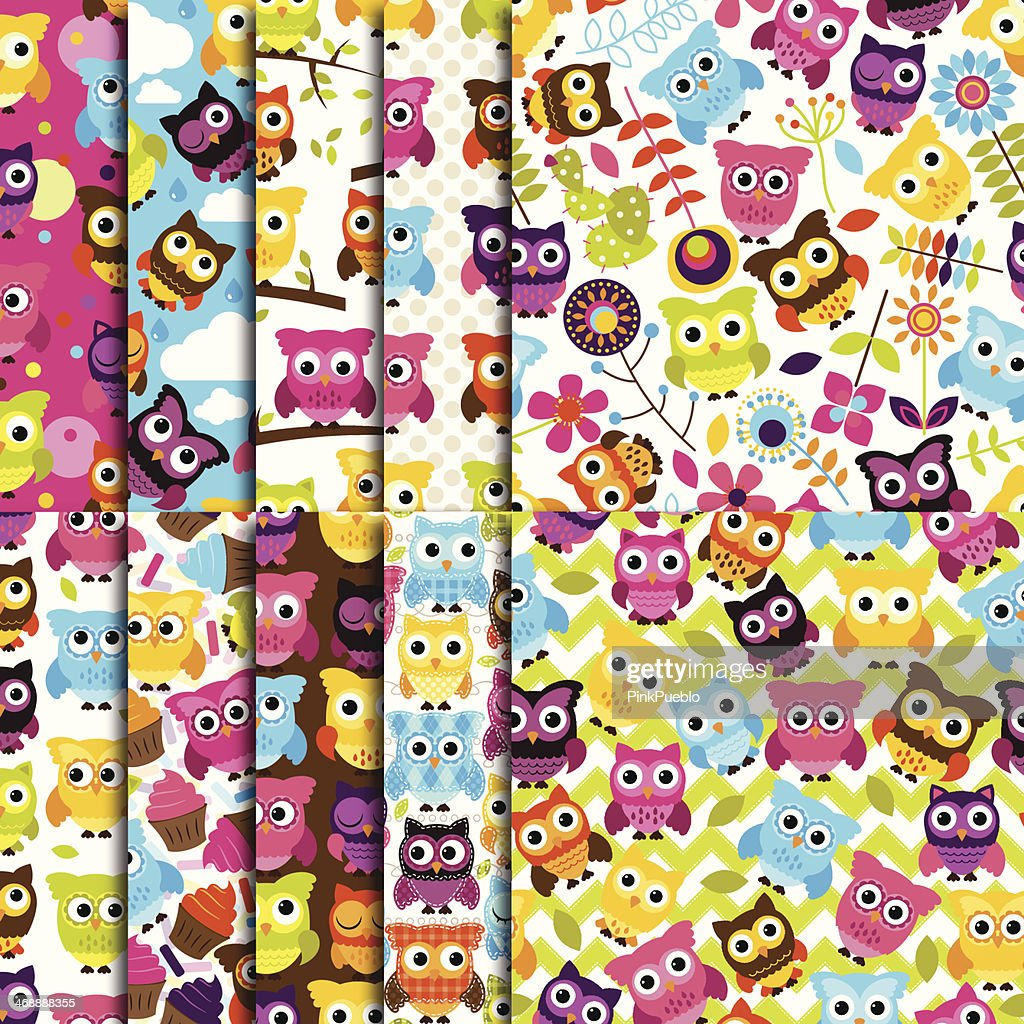 Seamless and Tileable Vector Owl Background Patterns