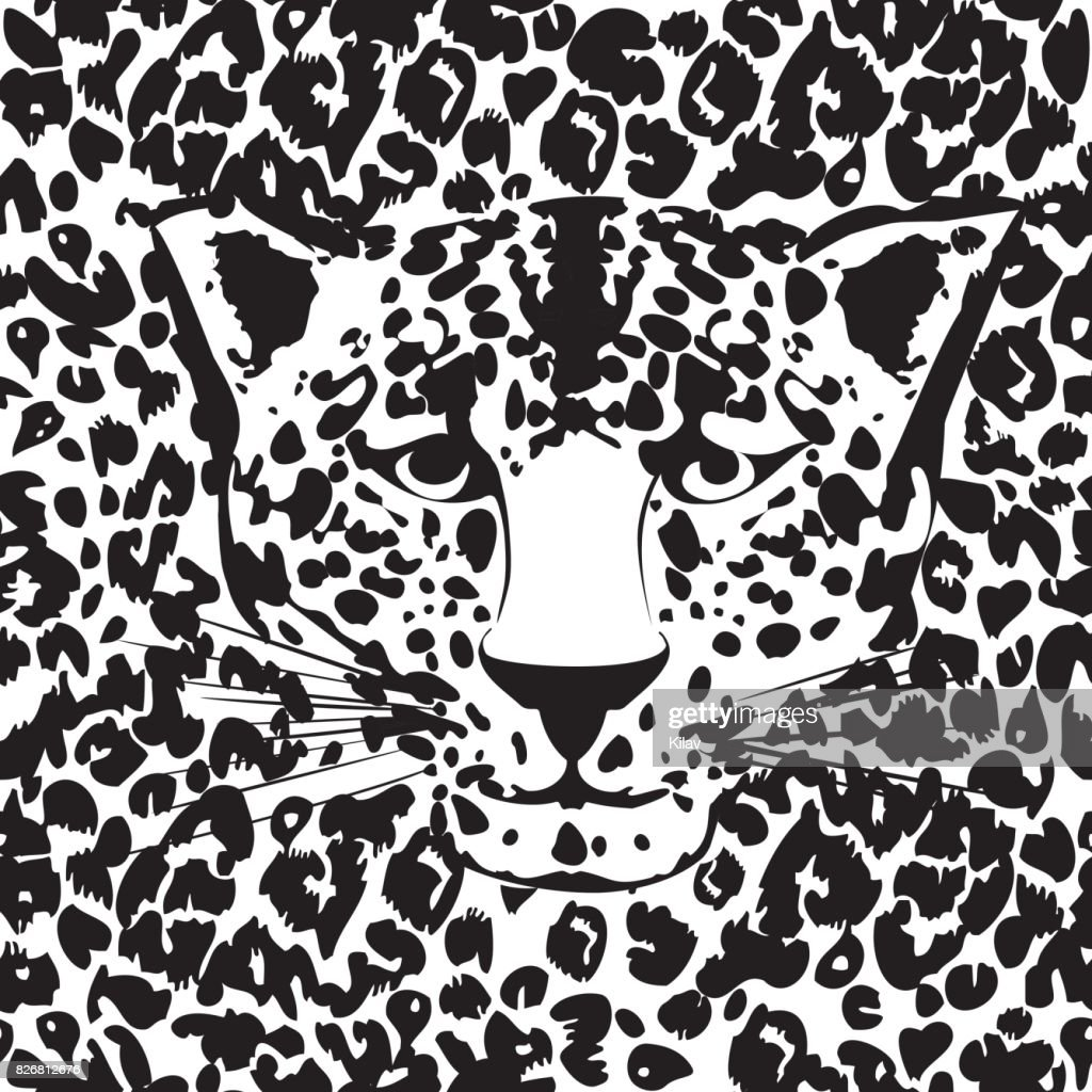 Seamless animal fur pattern vector. Cheetah, leopard tiger head skin texture.