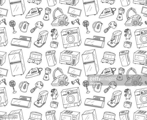 シームレスなアプライアンスの落書き - 熱映像点のイラスト素材/クリップアート素材/マンガ素材/アイコン素材