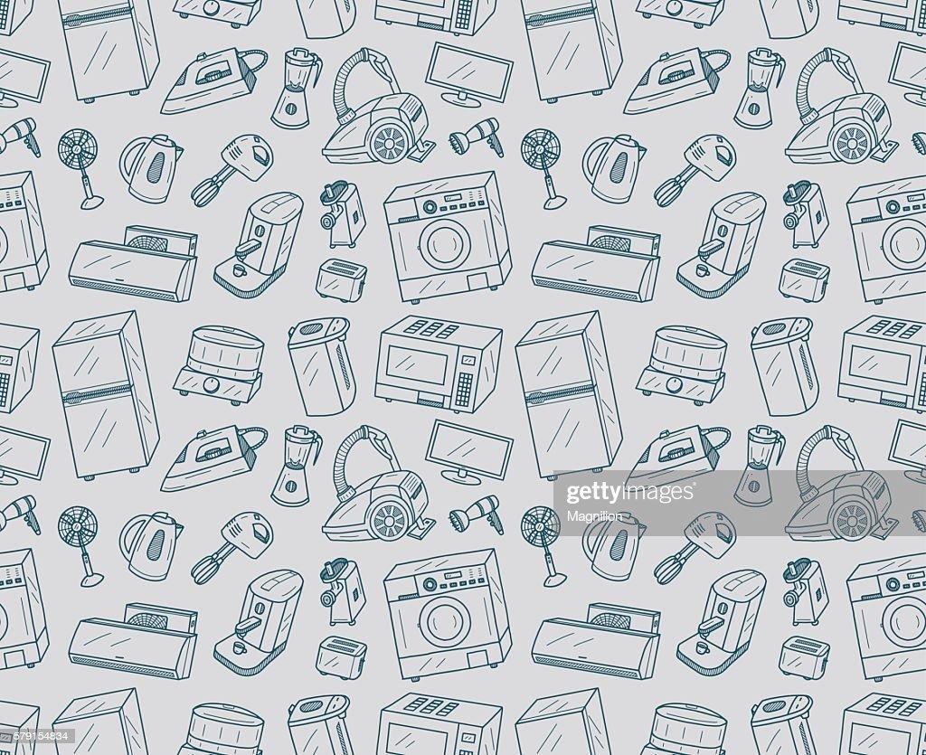 Seamless Appliances Doodles : stock illustration