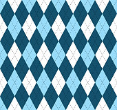 Seamless argyle pattern in shades of blue and white with black stitch.