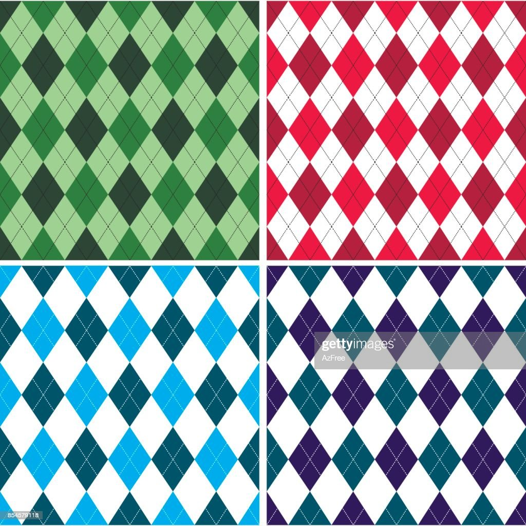 Seamless argyle pattern in shades with white stitch. Vector illustration.