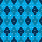 Seamless argyle pattern. Retro blue color .Vector,