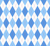Seamless argyle plaid pattern in blue, azure and white