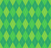 Seamless argyle plaid pattern in lime green, emerald and myrtle
