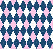 Seamless argyle plaid pattern in pink, white and dark blue.