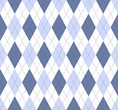 Seamless argyle plaid pattern in slate blue, pale cornflower and white with cobalt blue stitch.