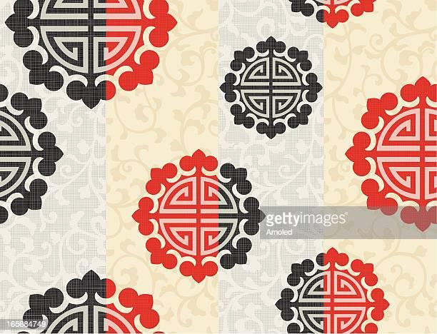 シームレスなアジアの要素 - 韓国文化点のイラスト素材/クリップアート素材/マンガ素材/アイコン素材