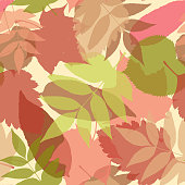 Seamless autumn pattern with colorful leaves. Maple, lime, alder, ash tree leaves silhouettes.