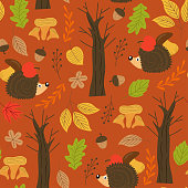 seamless autumn pattern with hedgehog