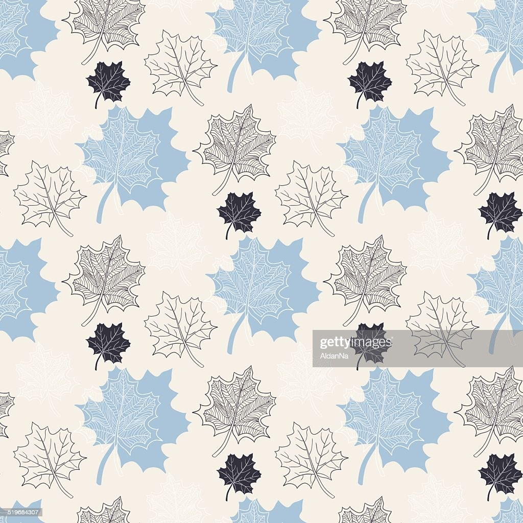 Seamless Autumn pattern:abstract blue leaf fall,defoliation