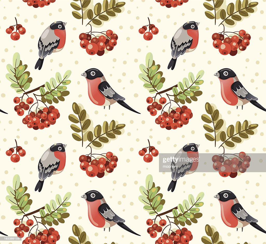 Seamless autumn winter pattern with bullfinch and rowan branches
