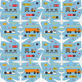 seamless aviation pattern with airplanes and airport vehicles
