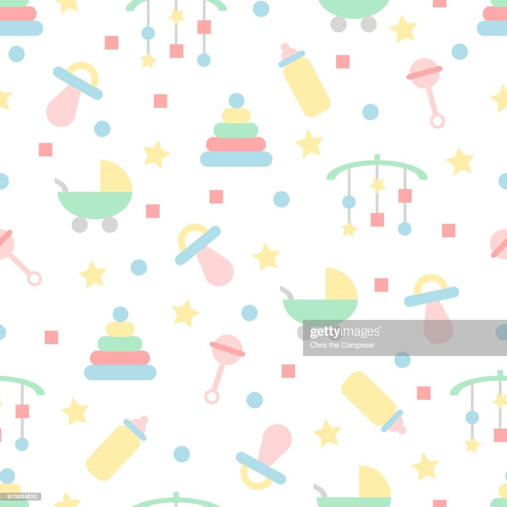 Seamless baby pattern in pastel colours with toys & objects