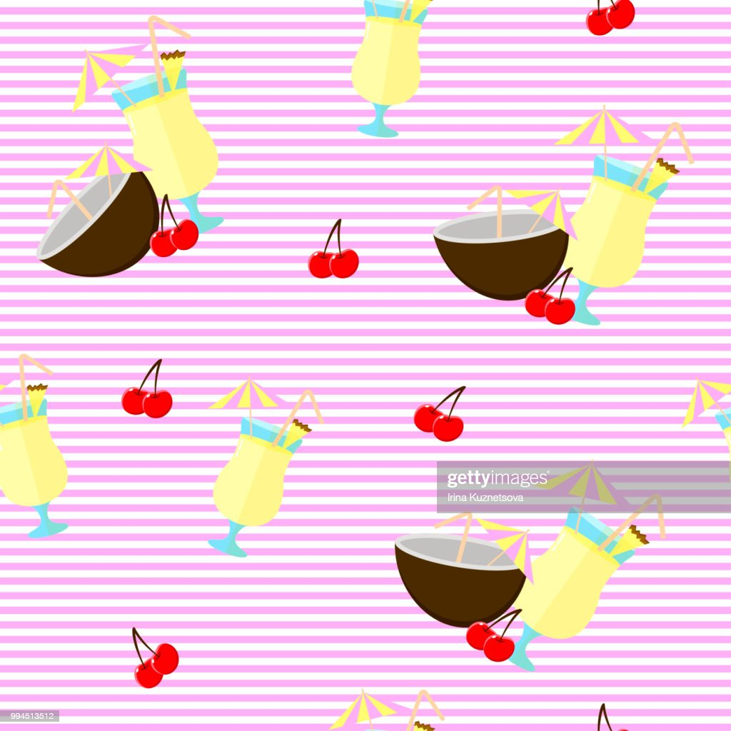 Seamless backgound. Pattern with Pina colada cocktail, coconut and cherry. White and pink stripes.