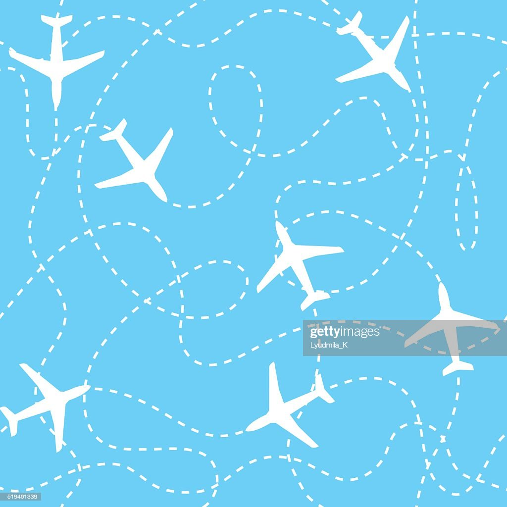 Seamless background airplanes flying with dashed lines as tracks or