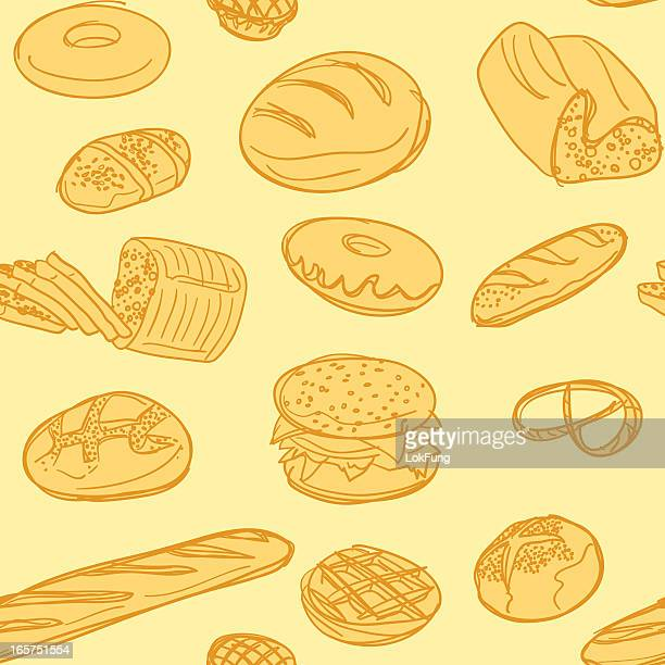 seamless background - bakery - sweet bun stock illustrations, clip art, cartoons, & icons