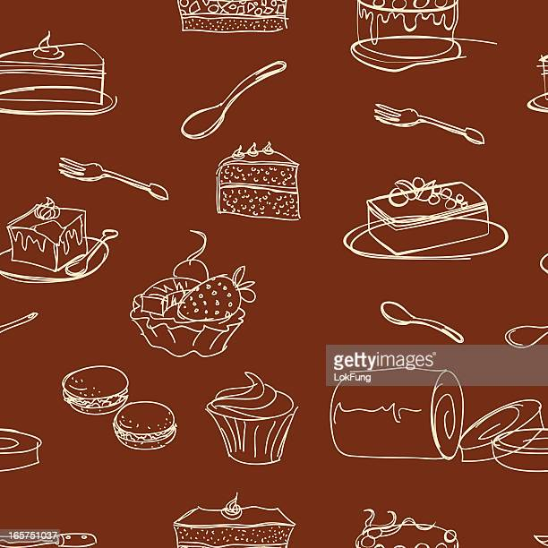 seamless background - cakes and dessert - macaroon stock illustrations, clip art, cartoons, & icons