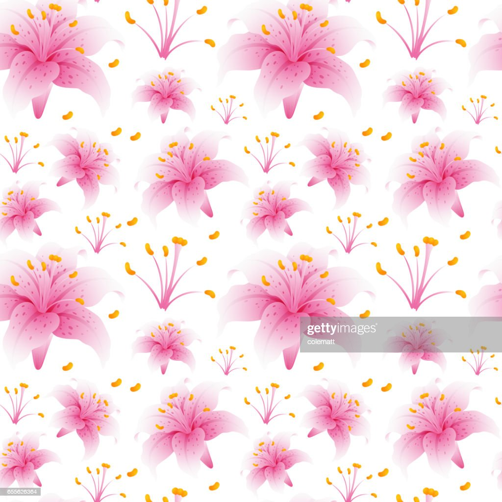 Seamless Background Design With Pink Lily Flowers Vector Art Getty
