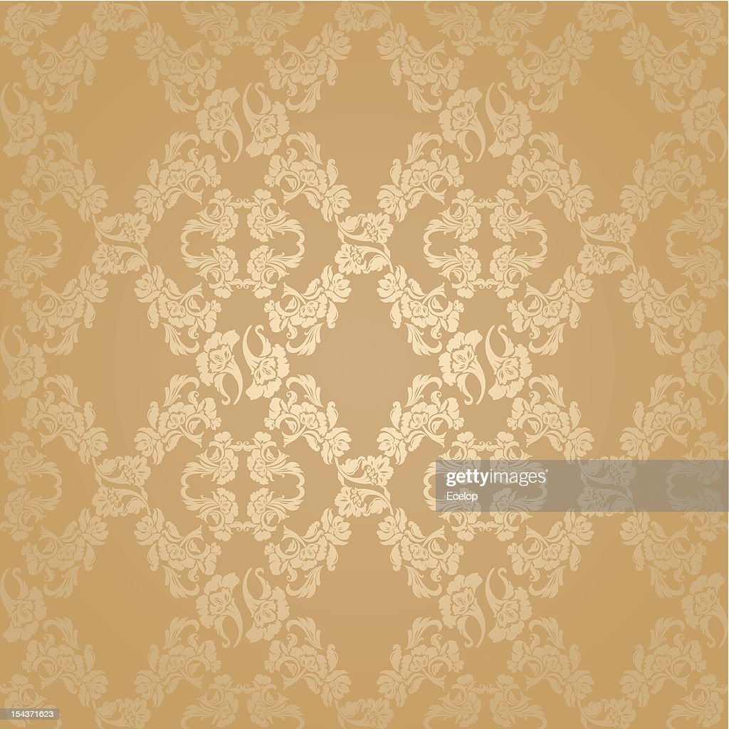 Seamless background flowers, floral pattern gold