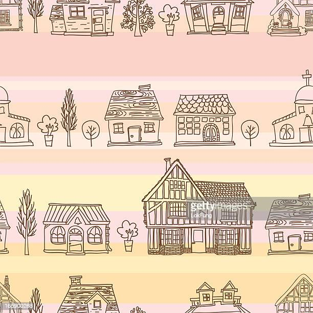 seamless background - house collection - bungalow stock illustrations, clip art, cartoons, & icons