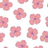 Seamless background image colorful botanic flower plant pink dogwood Cornus on white