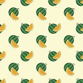 Seamless background image colorful tropical fruit yellow water melon