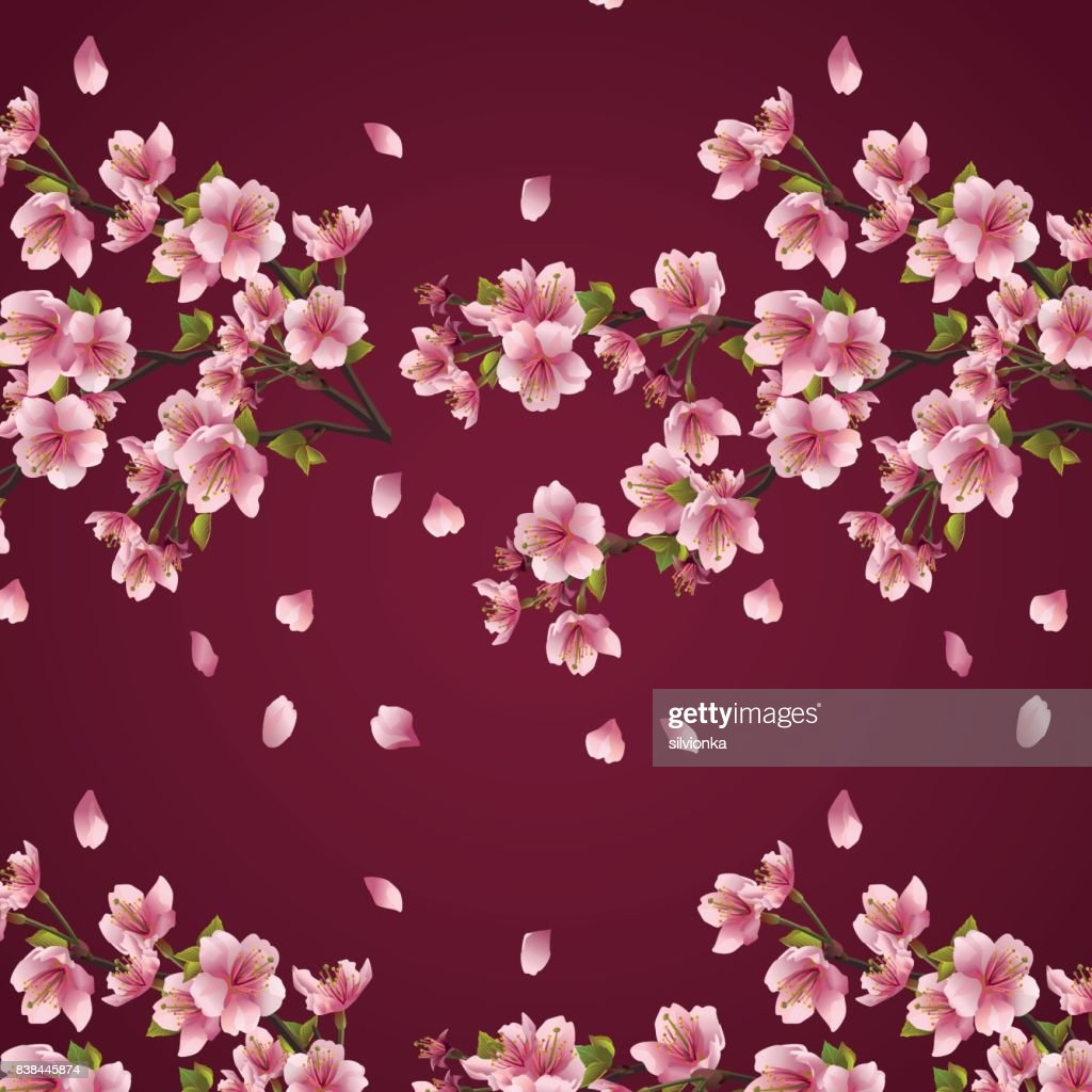 Seamless background maroon with branch of cherry tree