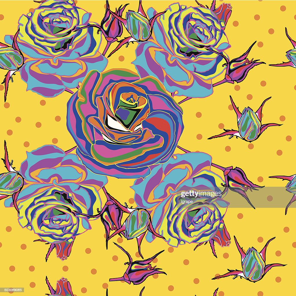 Seamless background. Multicolored roses on a yellow background.