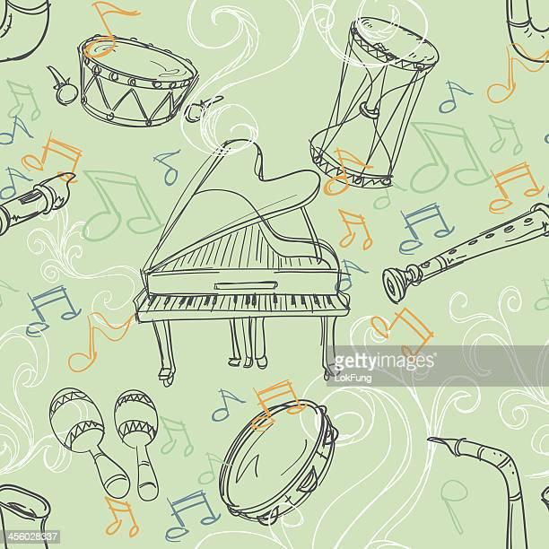 ilustrações de stock, clip art, desenhos animados e ícones de sem costura fundo-instrumento musical - pandeiro