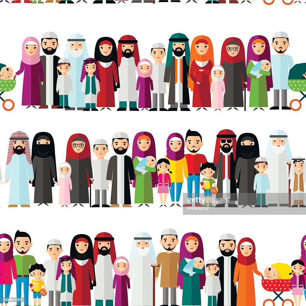 Seamless background of arab families.
