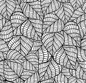 Seamless background of black and white leaves.