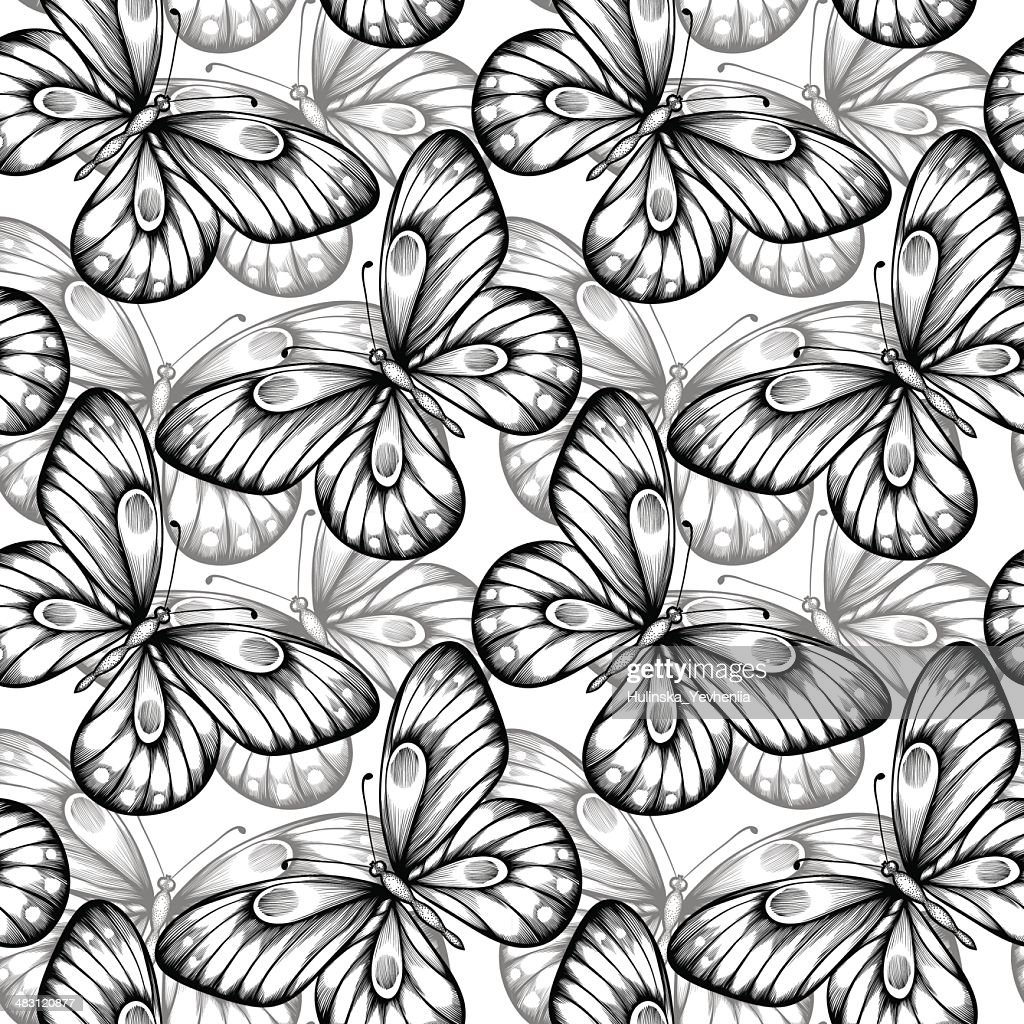 seamless background of butterflies black and white colors.
