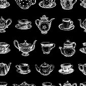 Seamless background of drawn tea cups and teapots