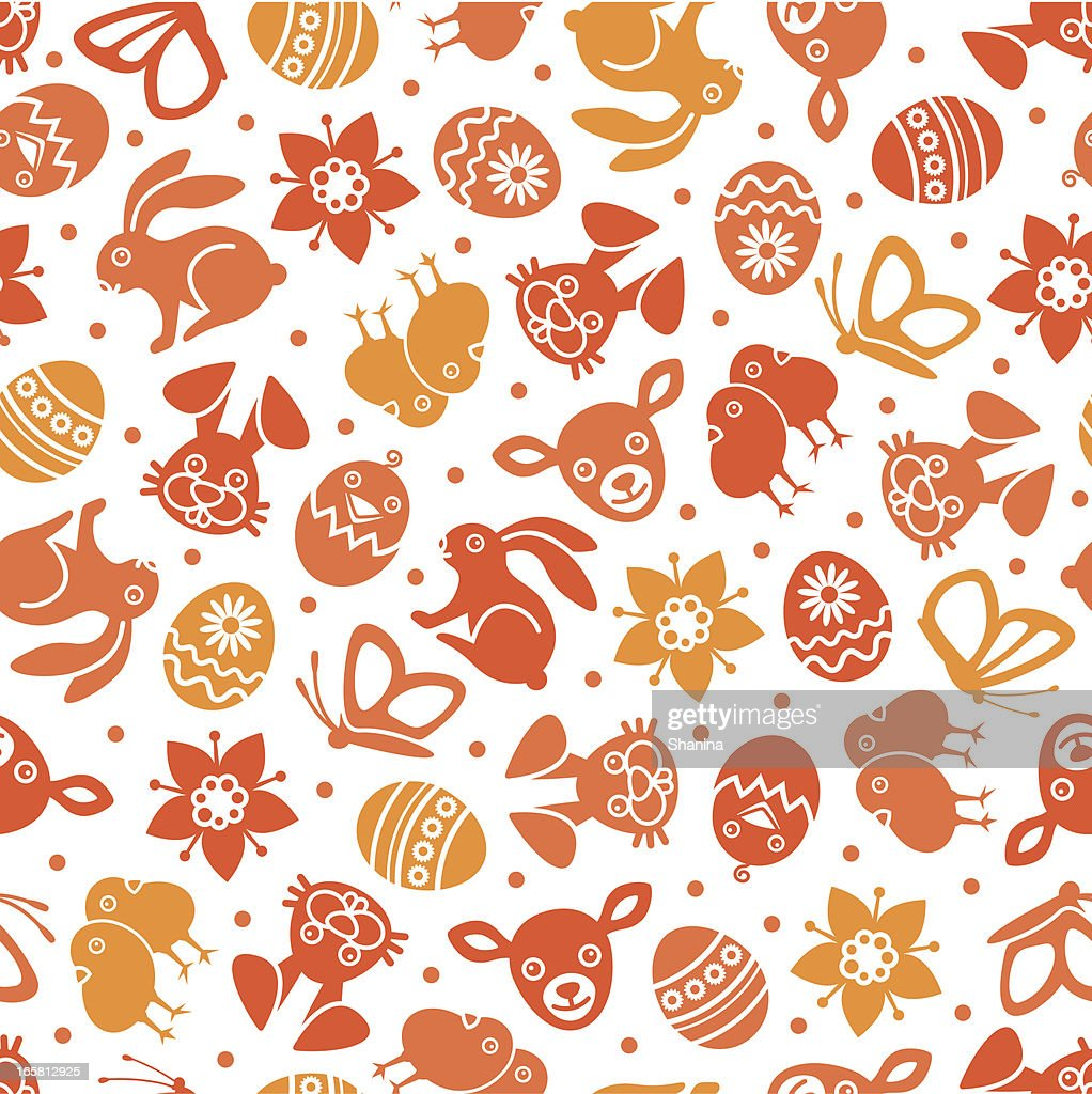 a seamless background of orange easter themed characters vector art