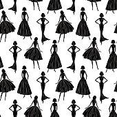 seamless background of the elegants women