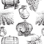 Seamless background of the theme of wine making