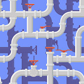 Seamless background of water pipeline. Piping System vector